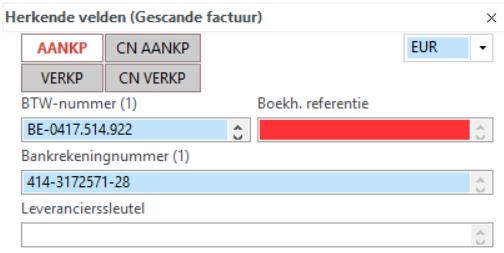 Het venster van de herkende velden   Virtual Invoice Help On line