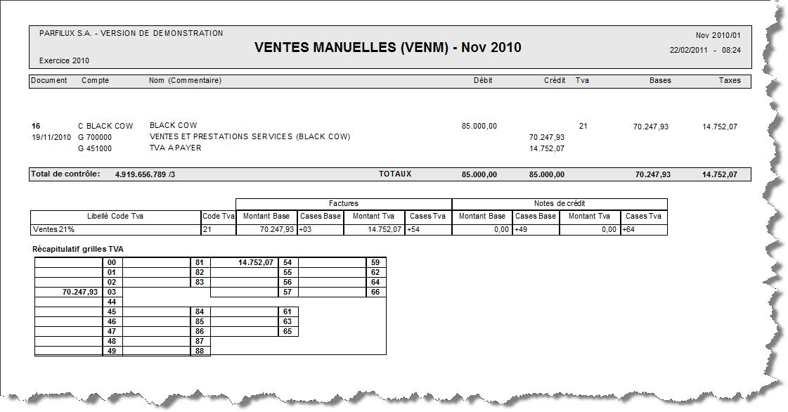 Journaux de ventes nc - Help On line WinBooks Classic FR ...
